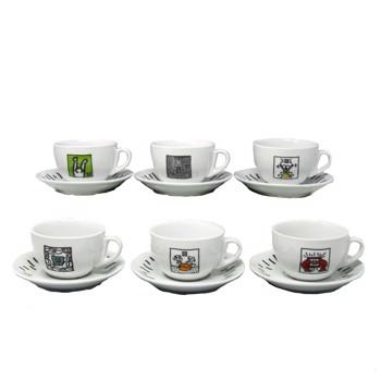 Lot de 6 tasses à cappuccino avec soucoupe