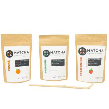 Confezione di tè Matcha: lampone, pesca e classico by Mama Matcha