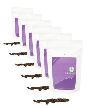 Café de spécialité du Brésil Oeiras - Pack 6 × Grains Pochette 250 g