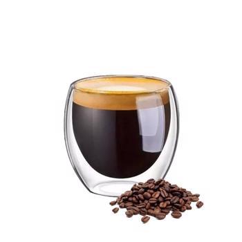 Tasse à café double paroi en verre borosilicate - 6 pièces 80 ml