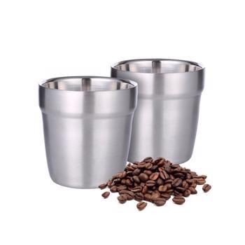 Tasses à café double paroi en acier inoxydable - 2 pièces 260 ml