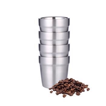 Tasses à café double paroi en acier inoxydable - 4 pièces 175 ml