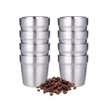 Tasses à café double paroi en acier inoxydable - 8 pièces 175 ml