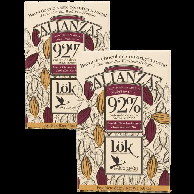 ALIANZA Cioccolato Monorigine Arauca 92 % (x3) by LÖK FOODS